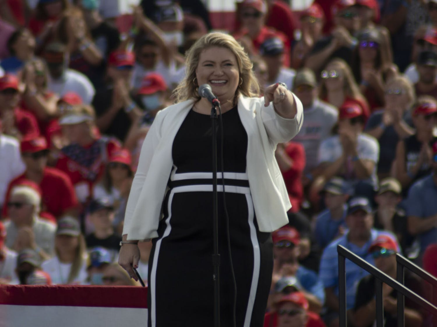 Kat Cammack, winner of the Congressional District 3 race in the 2020 election, is seen giving an opening speech at President Donald Trump's campaign rally last month. The event was held at the Ocala International Airport in Florida on Oct. 16, 2020.
