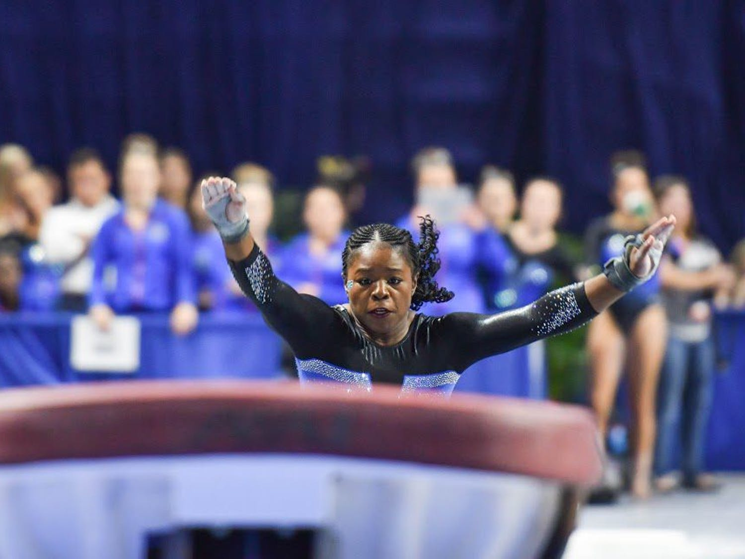 UF gymnast Alicia Boren sprints during the NCAA Gainesville Regional on Sunday in the O'Connell Center.