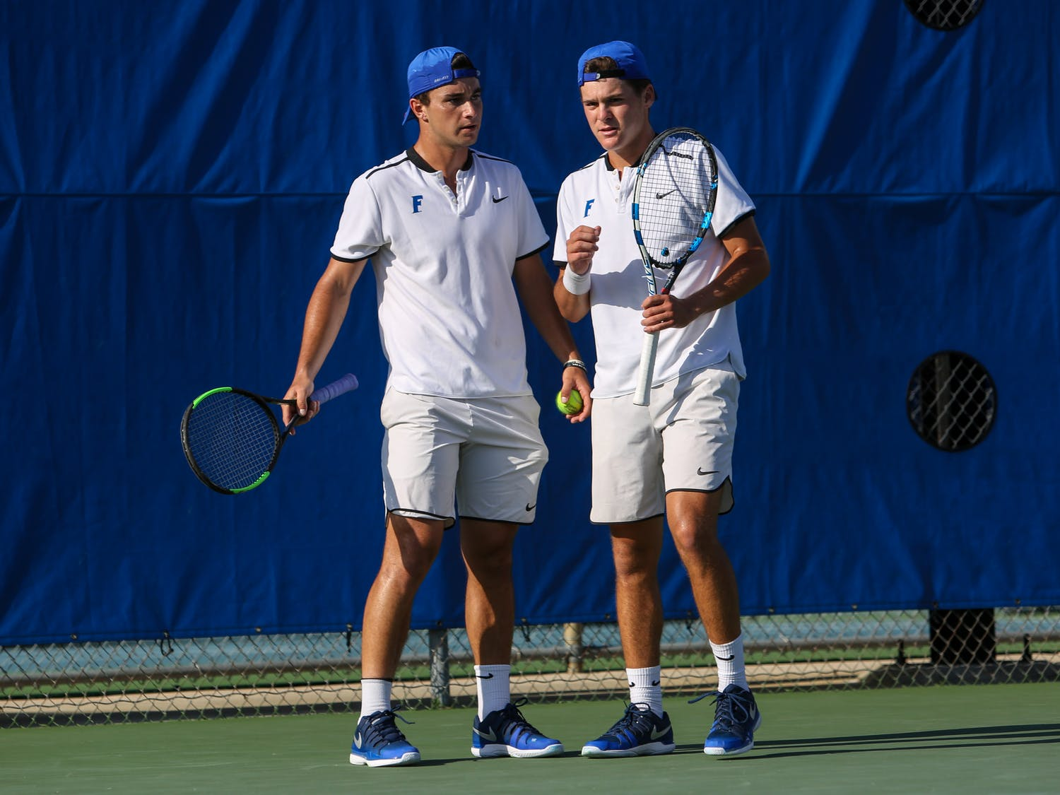 The doubles duo of junior McClain Kessler (right) and Duarte Vale (left) dropped it's NCAA quarterfinals matchup against Ohio State'sMartin Joyce andMikael Torpegaard, 6-3, 6-2. Florida's season ended with the doubles defeat.