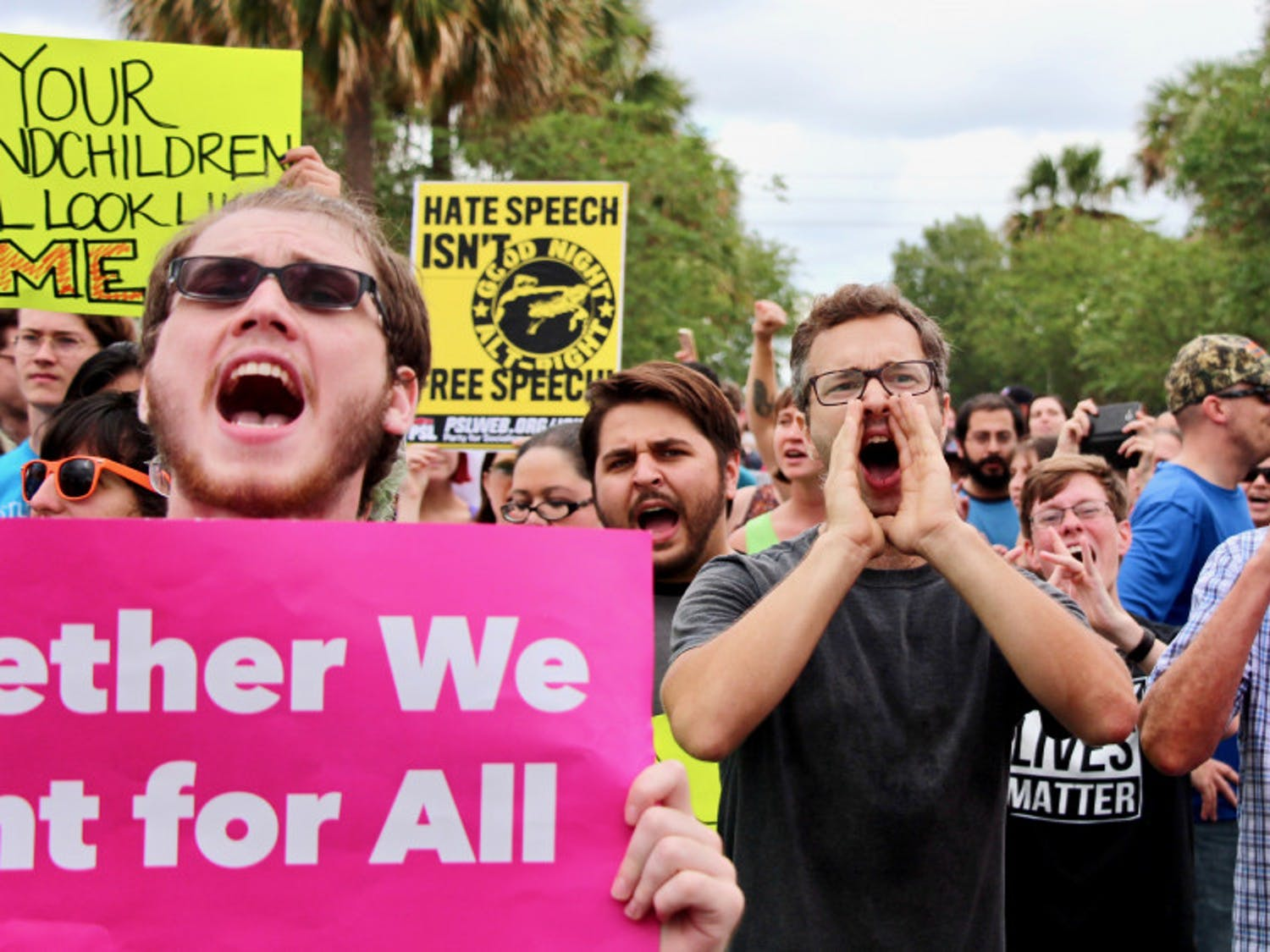 Hundreds of protesters gathered outside the Phillips Center for the Performing Arts to protest Richard Spencer's speech Thursday.