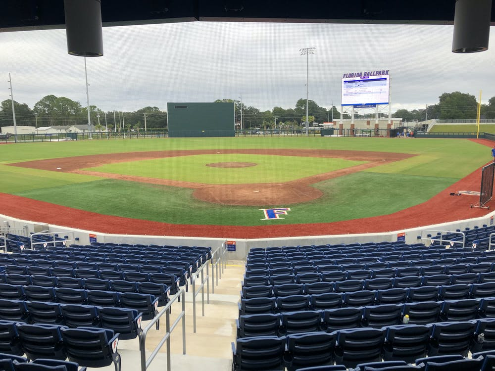 Clouds gather over Alfred A. McKethan Field at Florida Ballpark on Nov. 13, 2020 before one of the Gators' fall scrimmages.