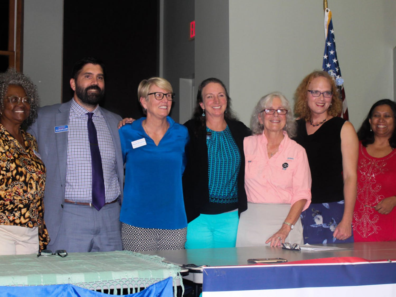 Five candidates, who will appear on the Nov. 6 general election ballot, answered feminist-centered questions at a forum Tuesday. The candidates from left to right are: Yvonne Hayes Hinson, Jason Haeseler, Kayser Enneking, Merrillee Malwitz-Jipson and Marihelen Wheeler.