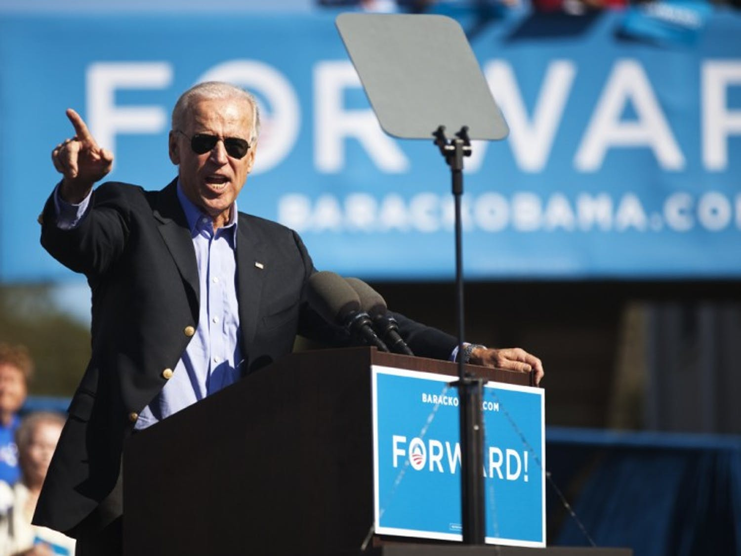 Vice President Joe Biden speaks to a crowd of about 2,500 people regarding the upcoming election at the Discovery Center at Tuscawilla Park, 701 NE Sanchez Ave., in Ocala Wednesday afternoon.