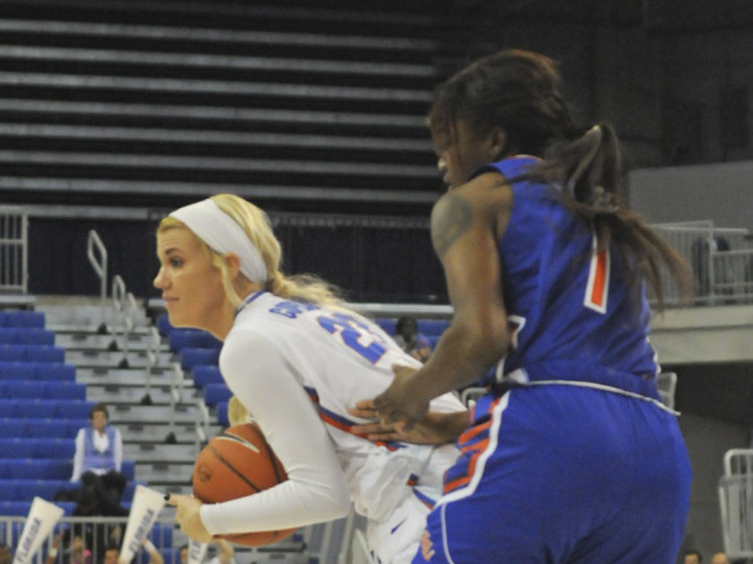 UF guard Brooke Copeland drives into the paint during Florida's win against Savannah State on Nov. 24, 2015.