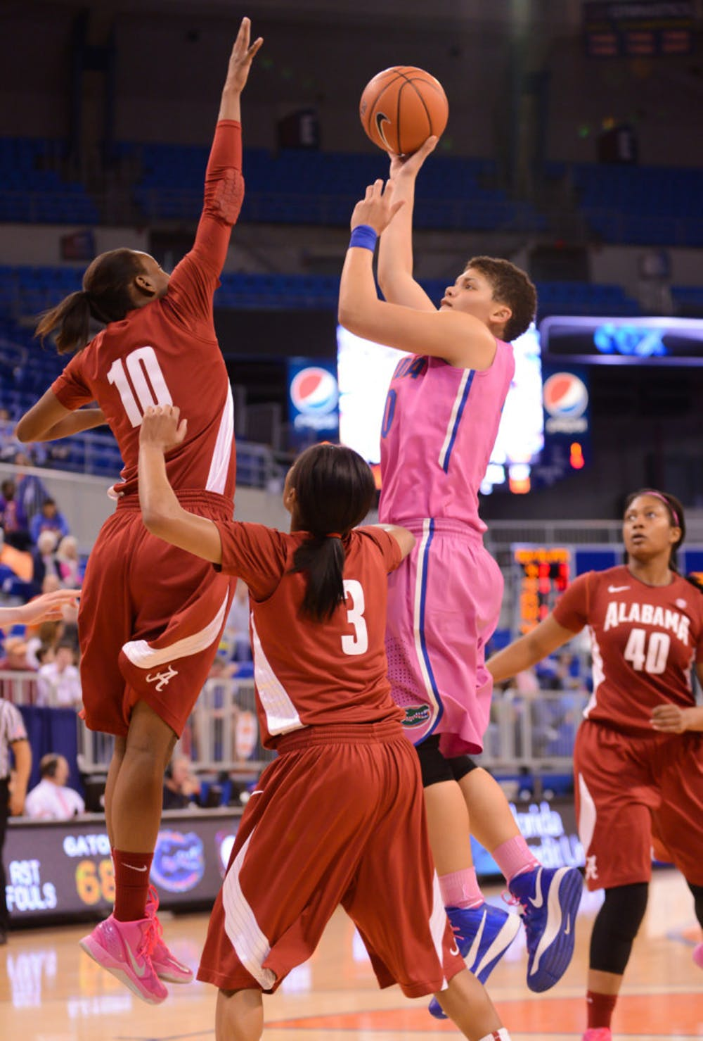 <p>Sydney Moss attempts a layup during Florida's 87-54 victory against Alabama at the Stephen C. O'Connell Center on Feb. 3.</p>