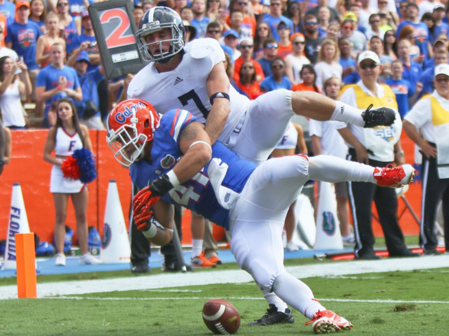 Hunter Joyer (41) drops a pass in the end zone during Florida's 26-20 loss to Georgia Southern on Saturday in Ben Hill Griffin Stadium. The Gators are 4-7 this season.
