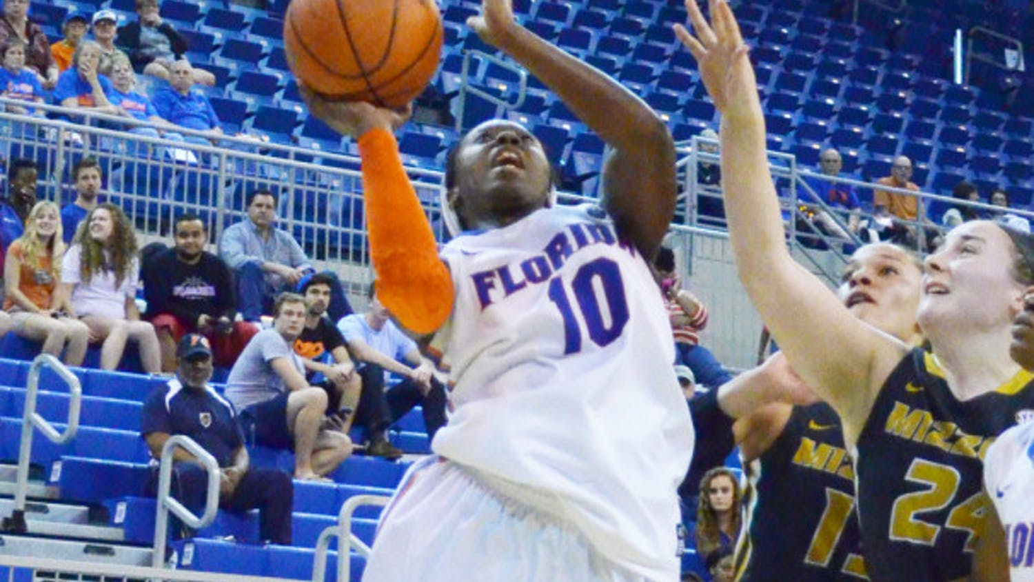 Jaterra Bonds attempts a shot during Florida's 81-76 loss against Missouri on Thursday in the O'Connell Center.