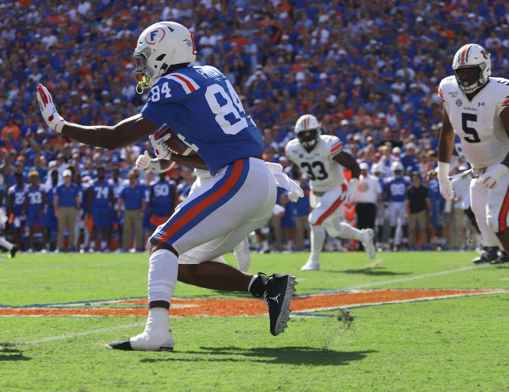 Pitts was awarded the Mackey following a 770 yard, 12 touchdown campaign in 2020. Photo from UF-Auburn game in October 2019.