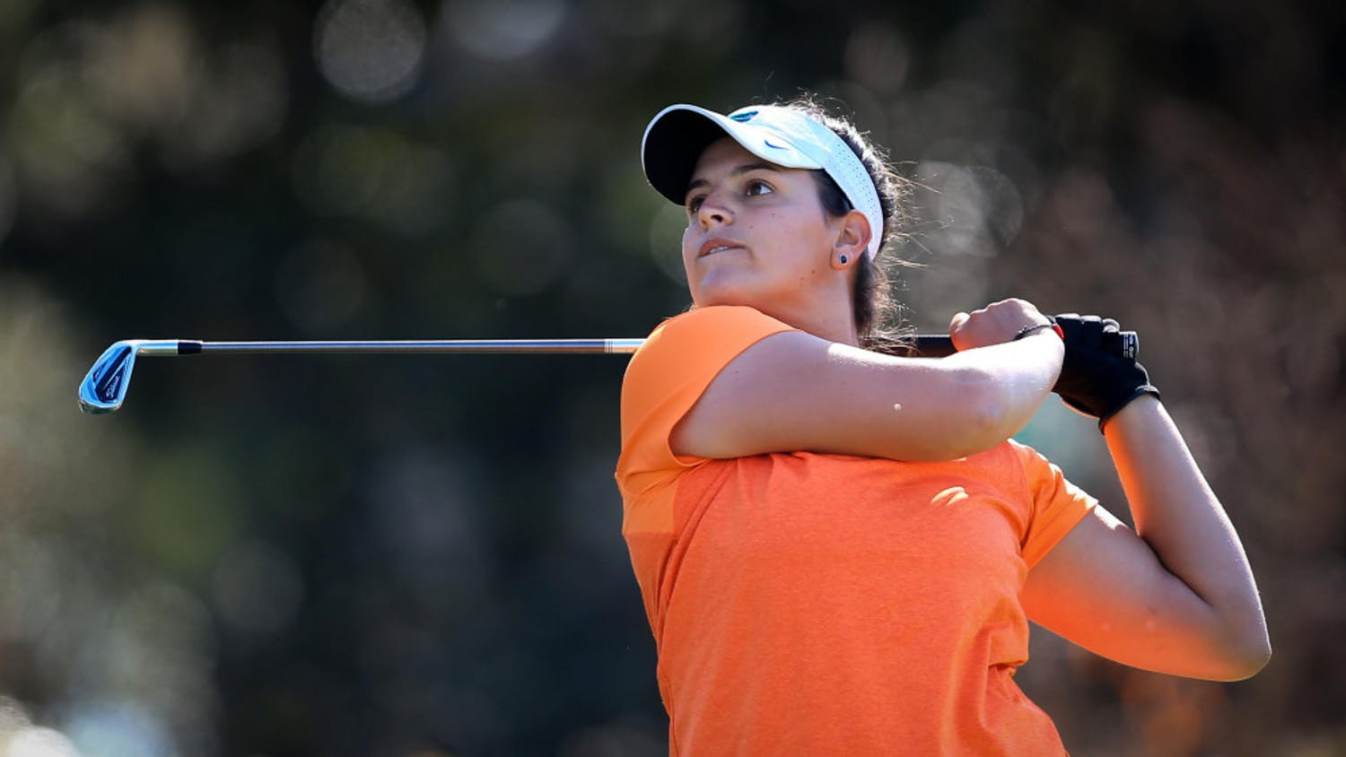 Maria Torres watches her shot during the SunTrust Gator Women's Golf Invitational on Saturday, March 11, 2017 at the Mark Bostick Golf Course in Gainesville.