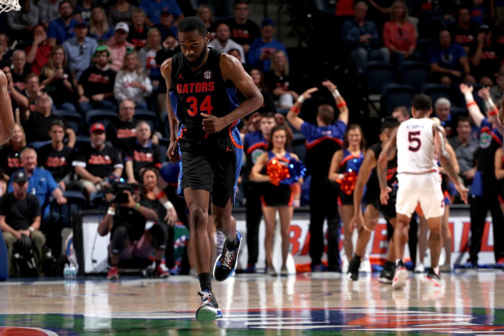 """<p dir=""""ltr""""><span>Chris Sutherland making his first appearance as a Florida basketball player against then-No. 4 Auburn.</span></p>"""