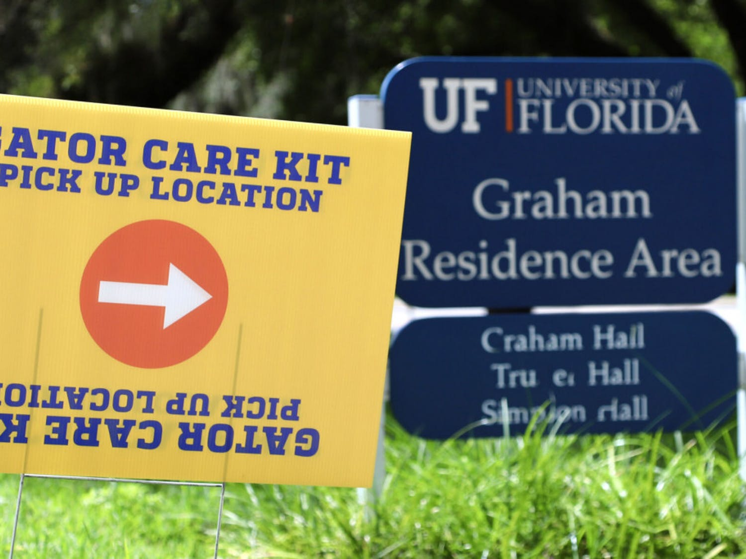 Gator Care Kits and UF 24 t-shirts are seen on August 26, 2020 at various locations to UF students on campus through October 2. Kits include two masks, hand sanitizer, antibacterial wipes, tissues, a stylus pen and a GatorWell first-aid pack with the option of a thermometer or anti-fog spray.