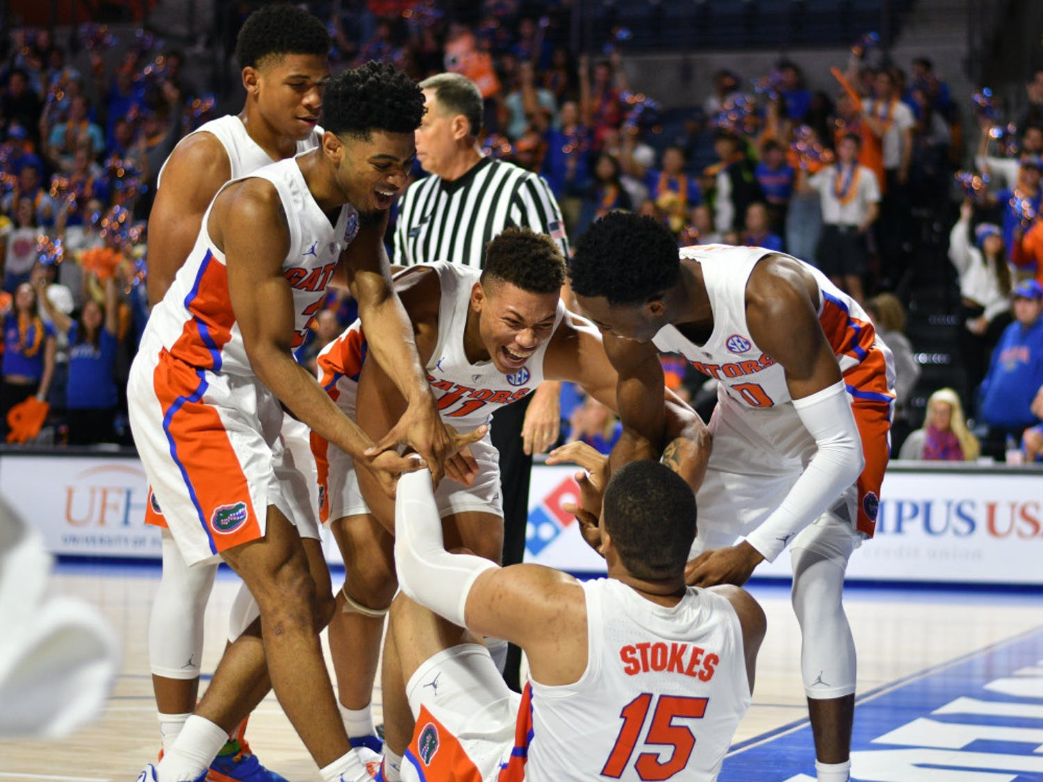 UF guard Jalen Hudson (second from left) averaged 9.3 points per game this season. In the last six games of the year, he averaged 12.5.