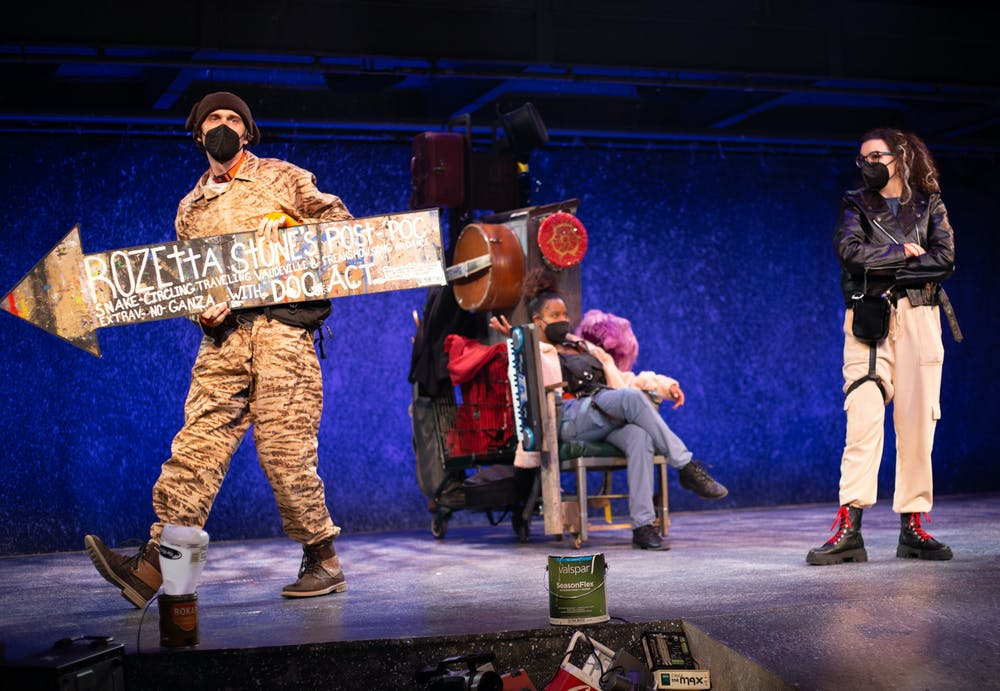 """Photos by TF Guntrup / UF School of Theatre + Dance  Actors are seen on stage performing """"Dog Act"""" during a rehearsal Wednesday, Sept. 15, 2021."""