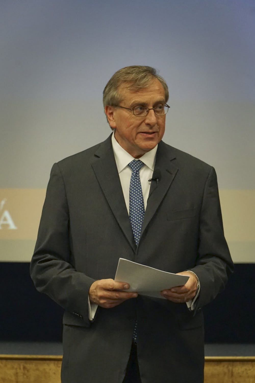 <p>UF President Kent Fuchs delivers his State of the University address in the Reitz Union Auditorium on Sept. 24, 2015. He plans to increase diversity and research opportunities at UF.</p>