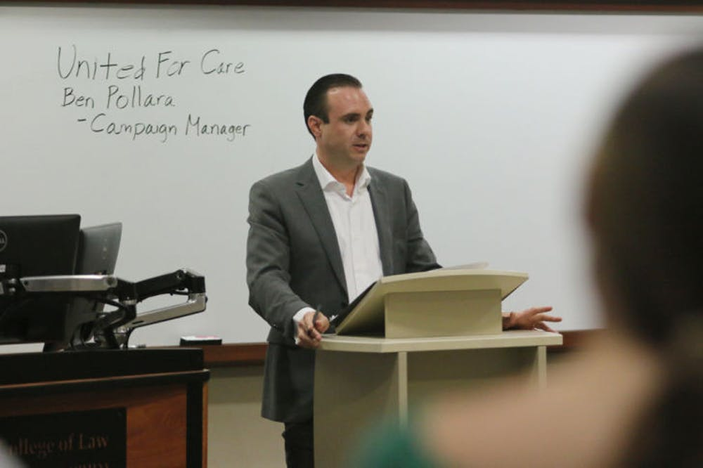 "<p dir=""ltr"">United for Care Director Ben Pollara discussed his involvement with the campaign for medical marijuana legalization in Florida. Pollara was hosted by UF's Levin College of Law chapter of American Constitution Society for Law and Policy on Wednesday afternoon.</p>"