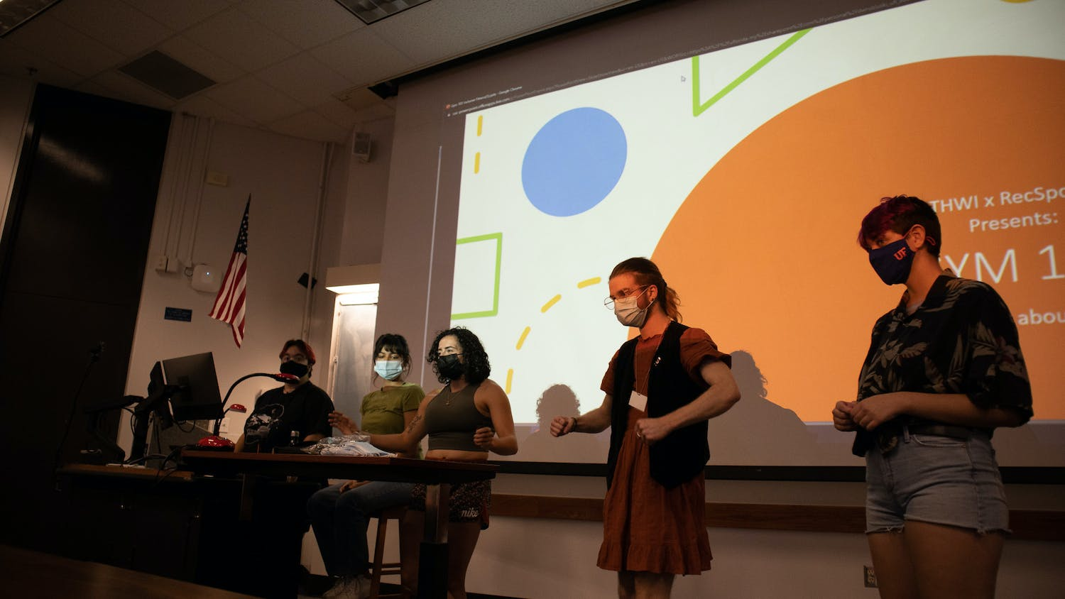 """The UF Trans Health + Wellness Initiative executive board presents at their meeting on """"Gym 101"""" with RecSports Oct. 4, 2021."""