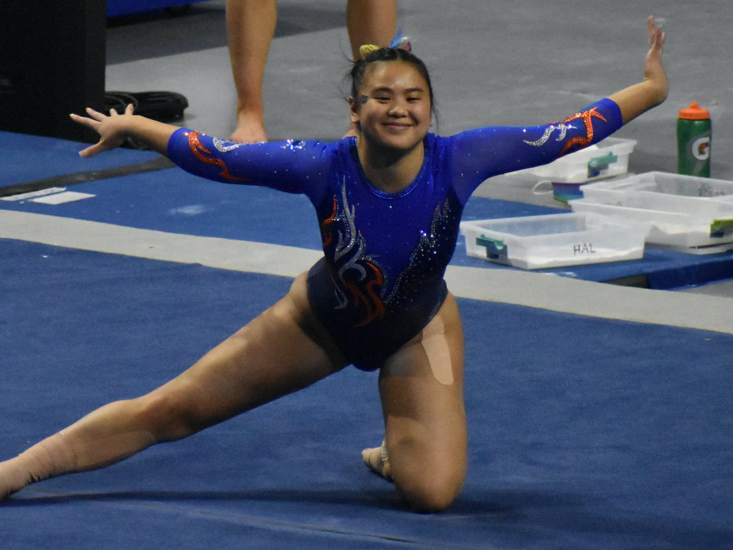 Lazzari's near-perfect score set a new personal best. Photo from UF-Mizzou game Jan. 29.