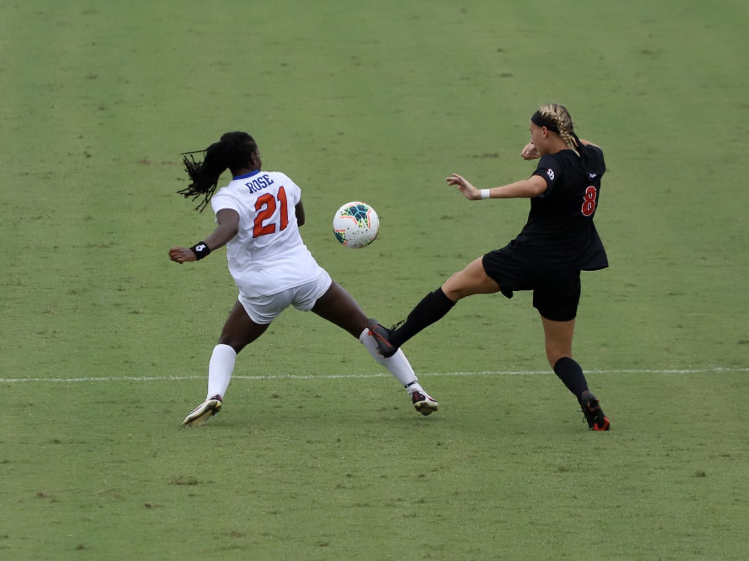 Forward Deanne Rose fights for a ball at Florida's game against Georgia earlier this season. The senior's return will be a key factor in the Gators' game against South Carolina Sunday.