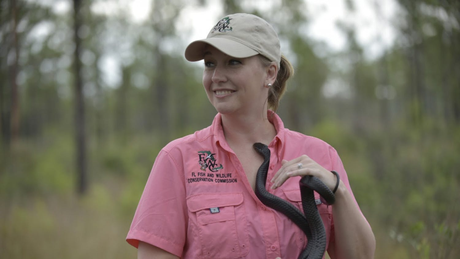 Brooke Talley waits to release Floyd at Apalachicola Bluffs and Ravines Preserve.