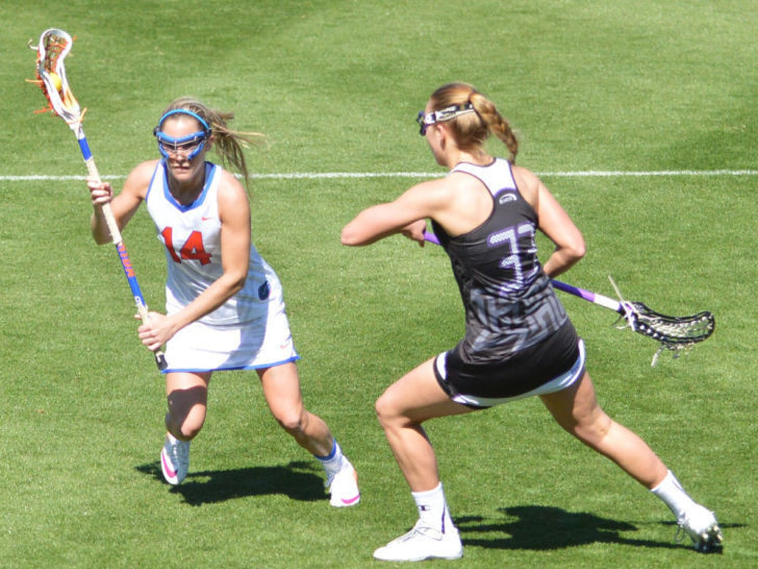Nora Barry drives the ball toward the net during Florida's 18-7 win against High Point on Feb. 15 at Donald R. Dizney Stadium. Barry scored the game-winning goal against Northwestern on Sunday to help the Gators clinch the American Lacrosse Conference Tournament title.