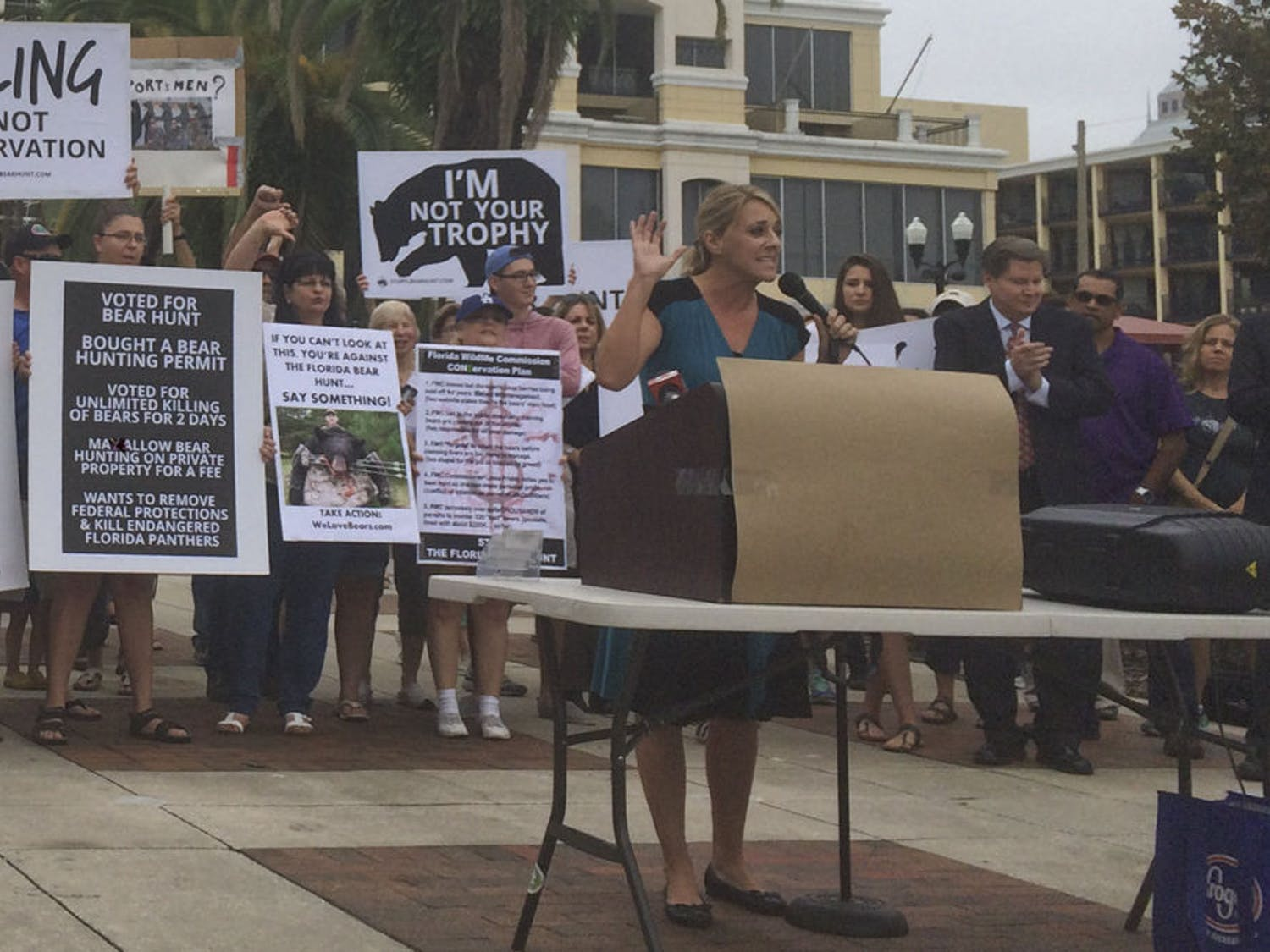 Julie Watkin, the executive director of Jacksonville-based nonprofit The Girls Gone Green, spoke out against bear hunting in a rally she organized in downtown Orlando last month. The Florida Fish and Wildlife Commission's statewide hunt begins Saturday and will run through Sunday. Its goal is to harvest 320 bears to manage the population.