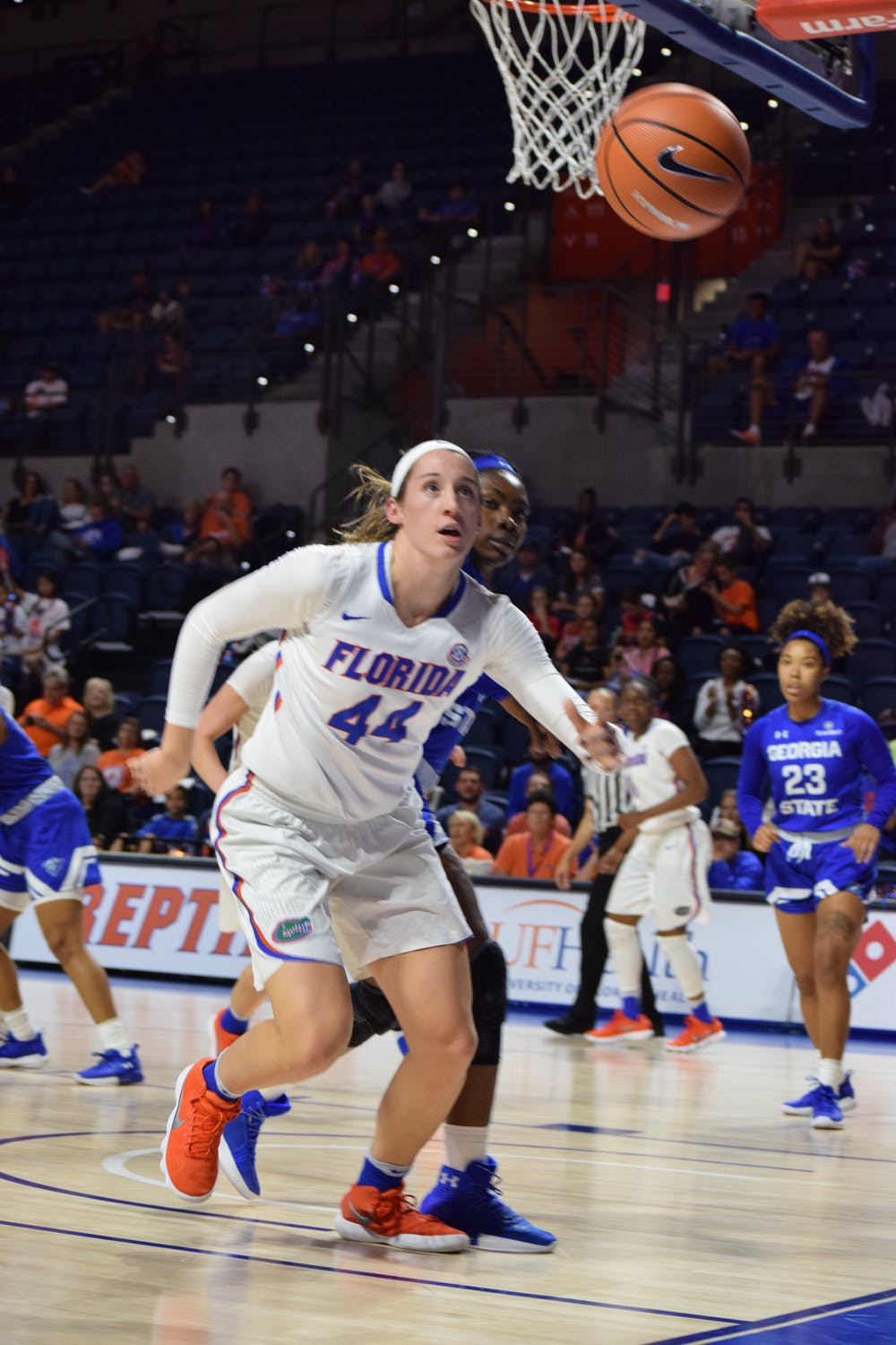 <p>Florida forward Haley Lorenzen recorded a double-double with 20 points and 11 rebounds in the Gators 69-59 win against Jacksonville on Tuesday.</p>