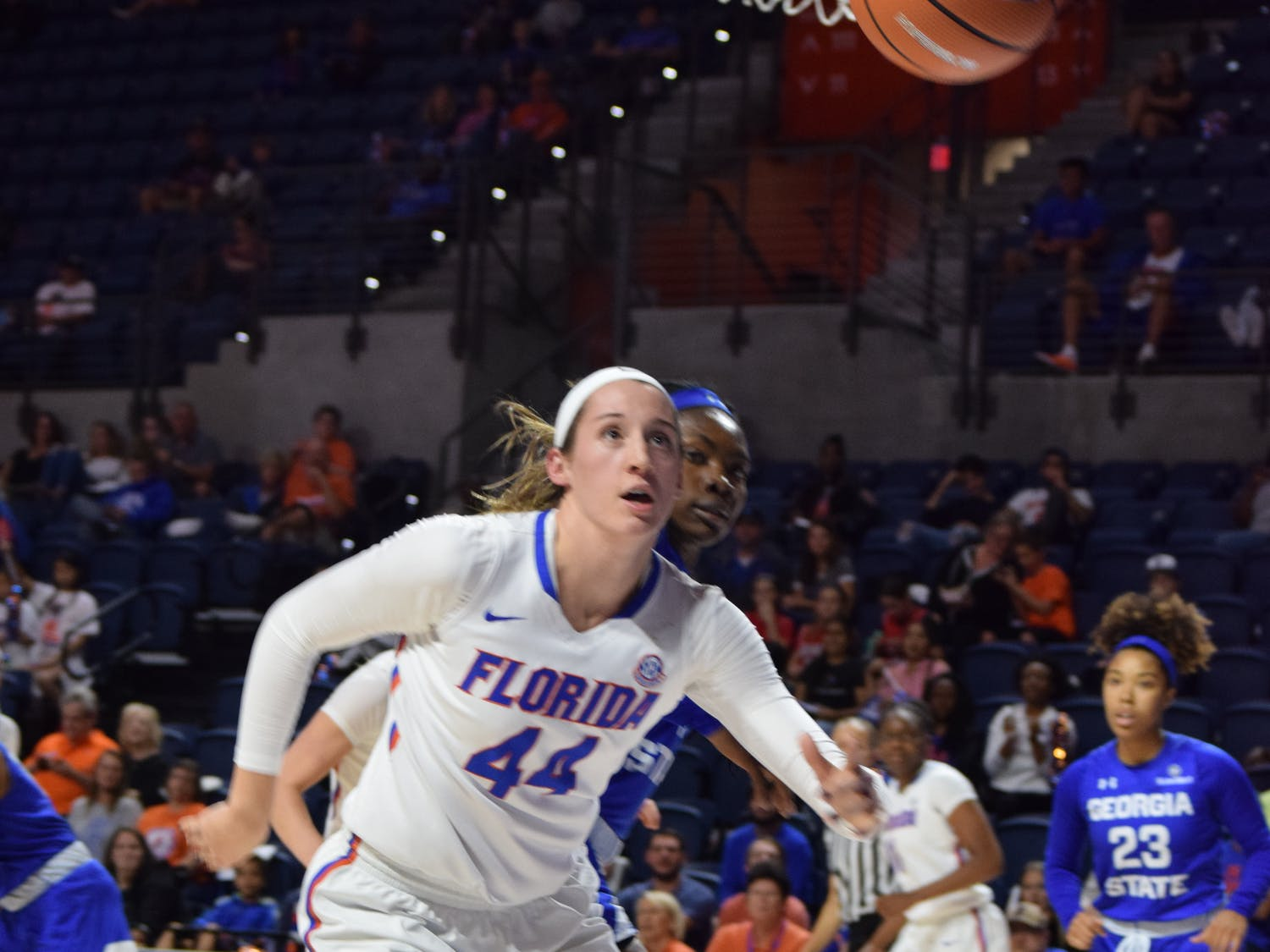 Florida forward Haley Lorenzen recorded a double-double with 20 points and 11 rebounds in the Gators 69-59 win against Jacksonville on Tuesday.