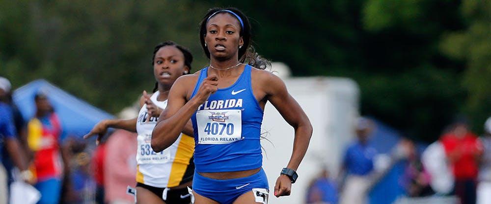 <p>Kyra Jefferson sprints during the 2015 Pepsi Florida Relays at Percy Beard Track.</p>