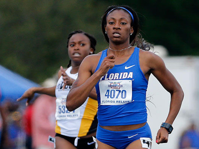 Kyra Jefferson sprints during the 2015 Pepsi Florida Relays at Percy Beard Track.