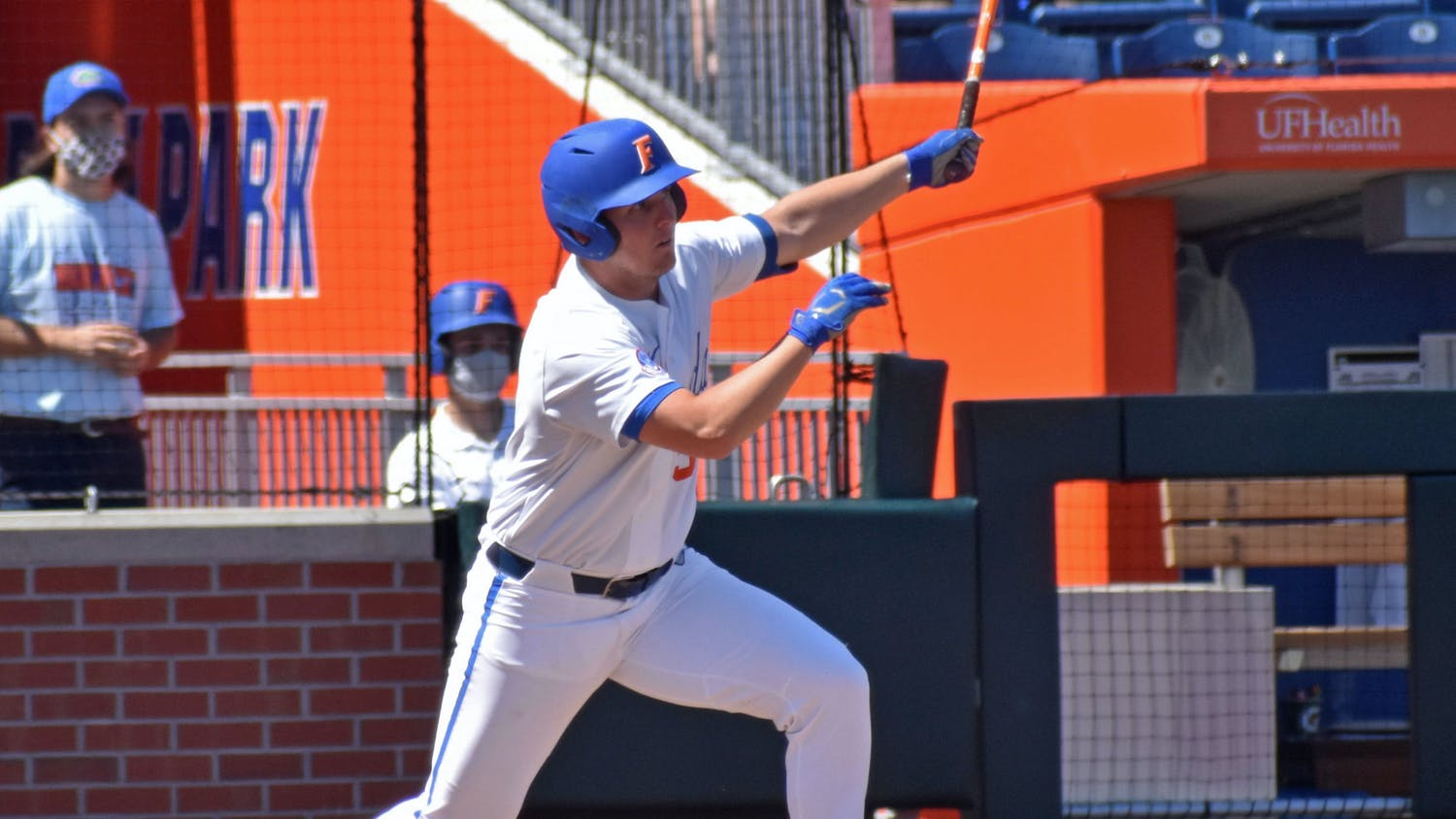 Third baseman Kirby McMullen hits a ball against Jacksonville March 14. McMullen tallied two of Florida's three hits and scored the Gators only run in a 6-1 loss to Stetson on Tuesday.