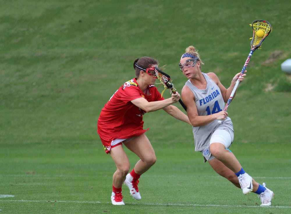 """<p dir=""""ltr""""><span>Florida attacker Lindsey Ronbeck scored four goals during UF's 16-9 road win over Colorado.</span></p><p><span></span></p>"""