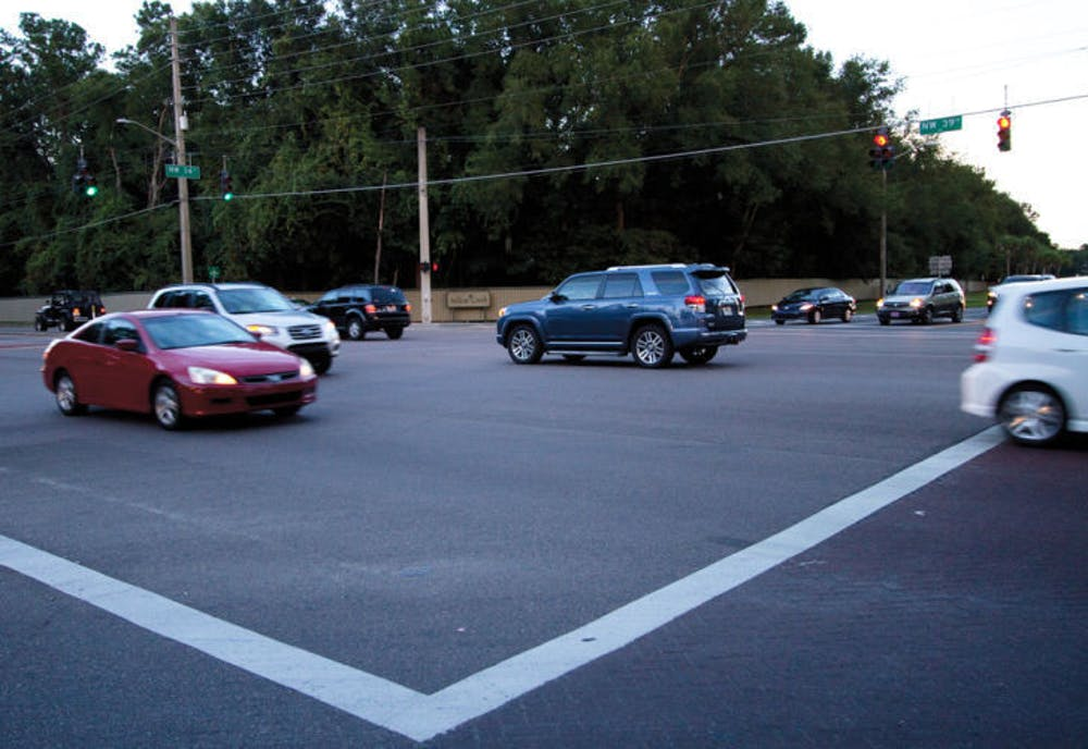 <p>The intersection at Northwest 39th Avenue and Northwest 34th Street experiences traffic Monday. The City Commission received a complaint about accidents there.</p>