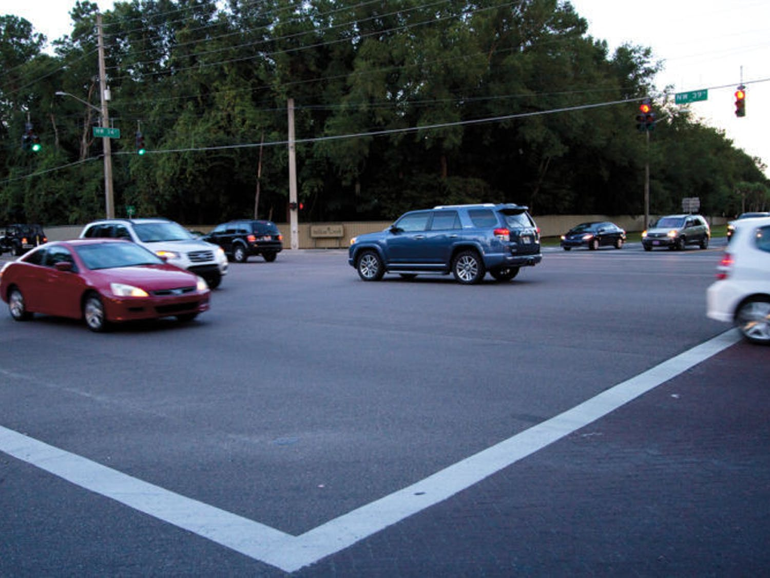 The intersection at Northwest 39th Avenue and Northwest 34th Street experiences traffic Monday. The City Commission received a complaint about accidents there.