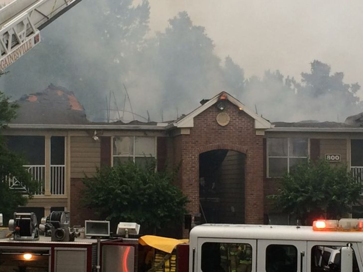 The extent of the damages to the building is currently being assessed, but the fire burned to both ends of the building