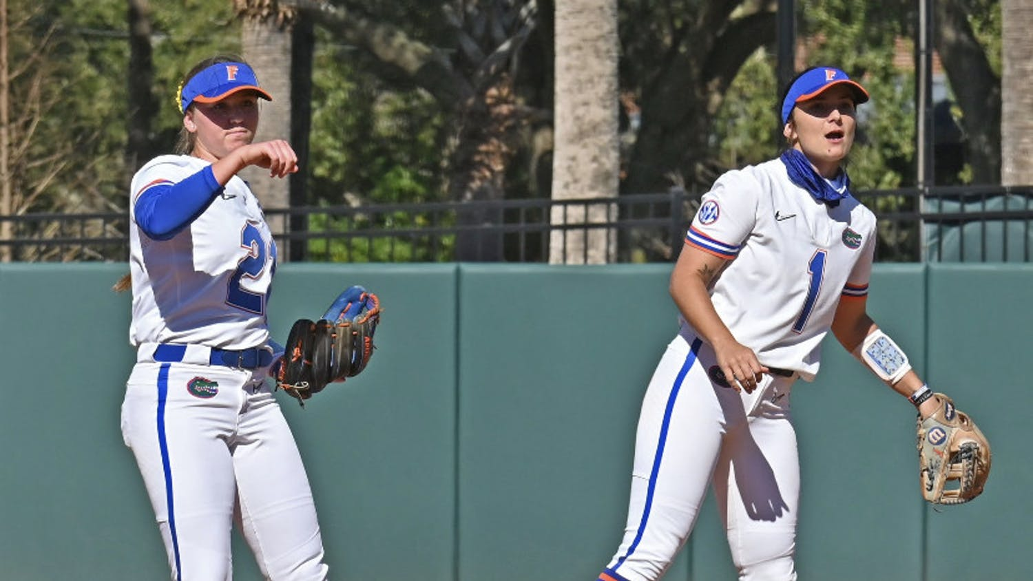 Senior Hannah Adams (right) notched her second walk off of the season Sunday against McNeese State.