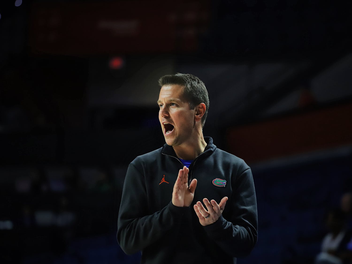 Coach Cam Newbauer on the sidelines of the Gators' game versus Presbyterian last year. With Kinslow's commitment, Newbauer has brought three transfers to Gainesville this offseason.