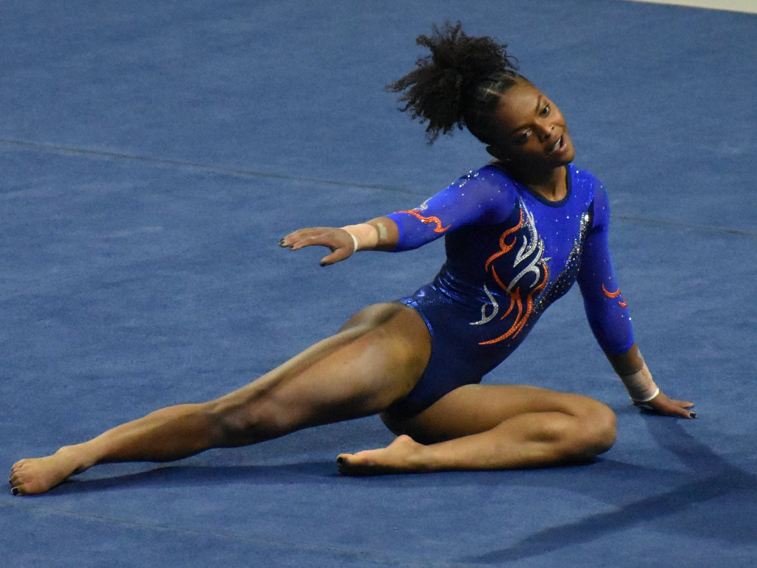 The Gators defeated two ranked conference foes without their star gymnast Trinity Thomas. Photo from UF-Mizzou Jan. 29.