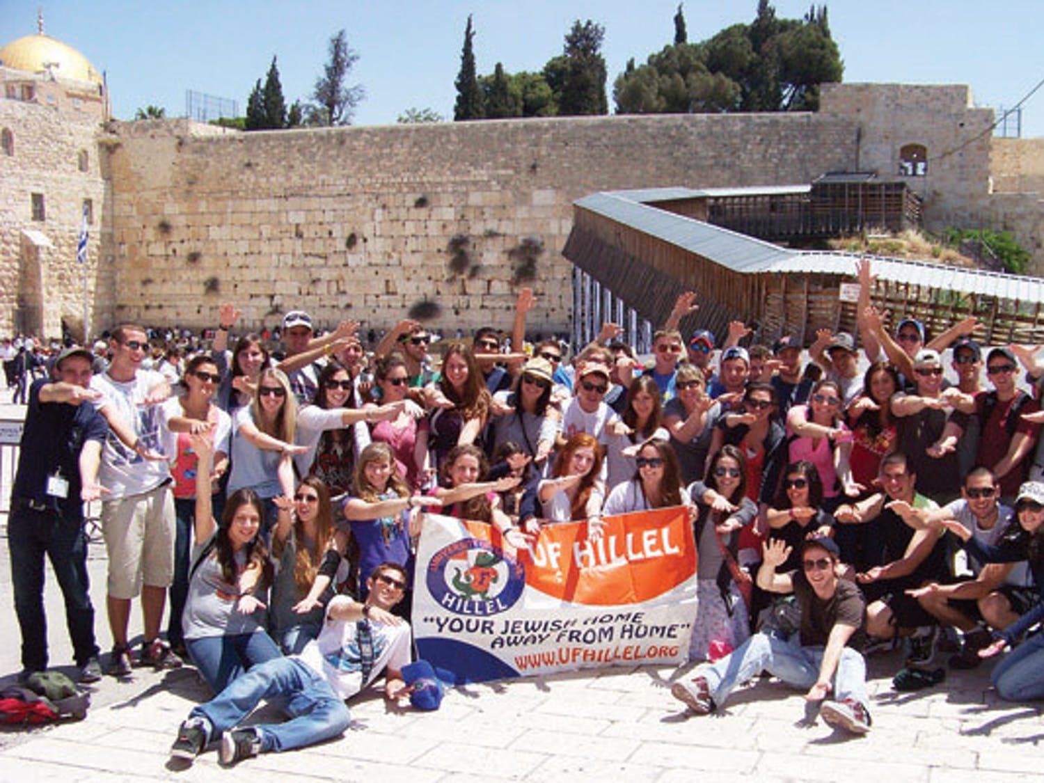 This photo shows one of three bus loads of students Hillel sent to Israel over summer. Hillel expects to send two buses in December and four buses next summer.
