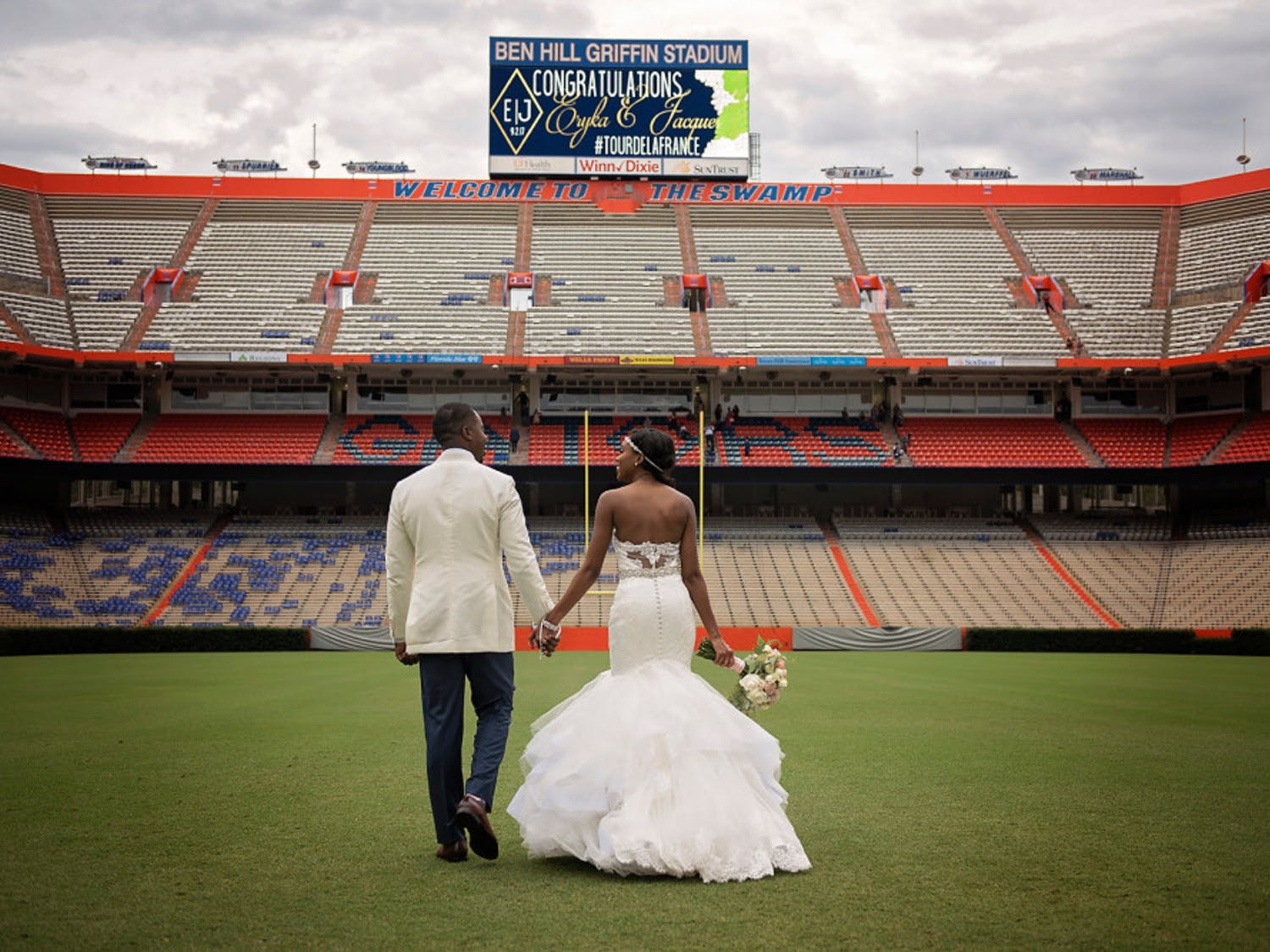 Eryka and Jacques LaFrance held their wedding ceremony in the Ben Hill Griffin Stadium on Sept. 2, 2017. Eryka LaFrance grew up in Gainesville and wanted to get married in a place close to her heart and childhood.