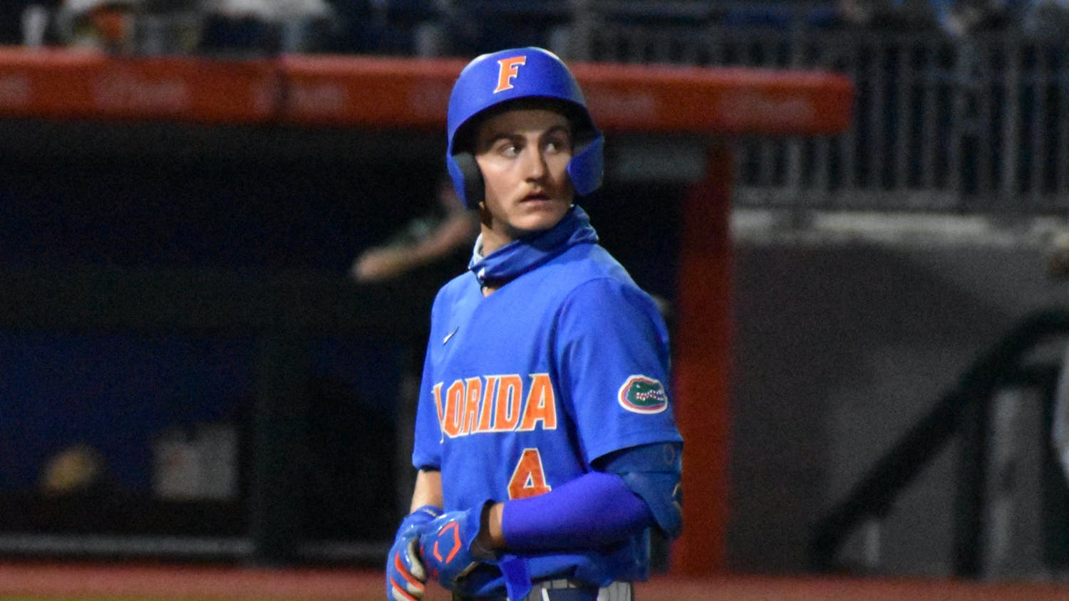 Fabian's solo shot — his team-leading eighth home run this season — added an insurance run to give the Gators a 7-3 advantage. Photo from UF-Jacksonville March 13.