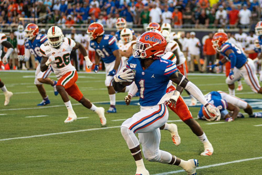 <p>Receiver Kadarius Toney, pictured against Miami in 2019, was drafted 20th overall in the NFL Draft Thursday night and is now a member of the New York Giants.</p>