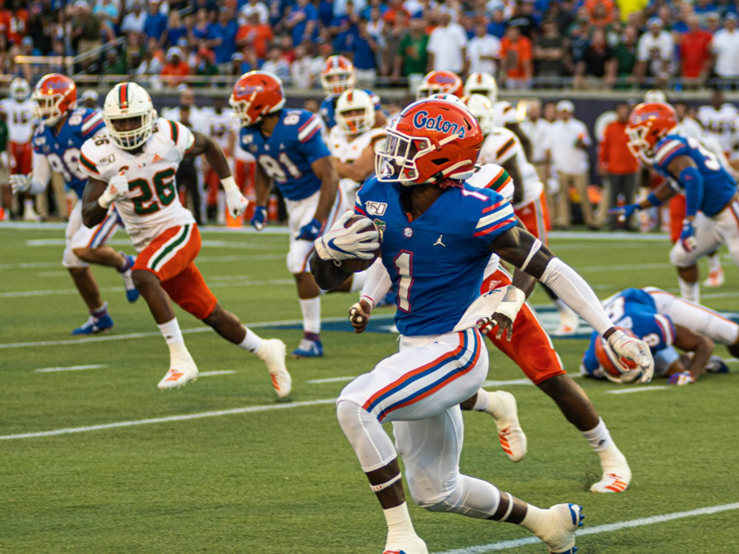 Receiver Kadarius Toney, pictured against Miami in 2019, was drafted 20th overall in the NFL Draft Thursday night and is now a member of the New York Giants.