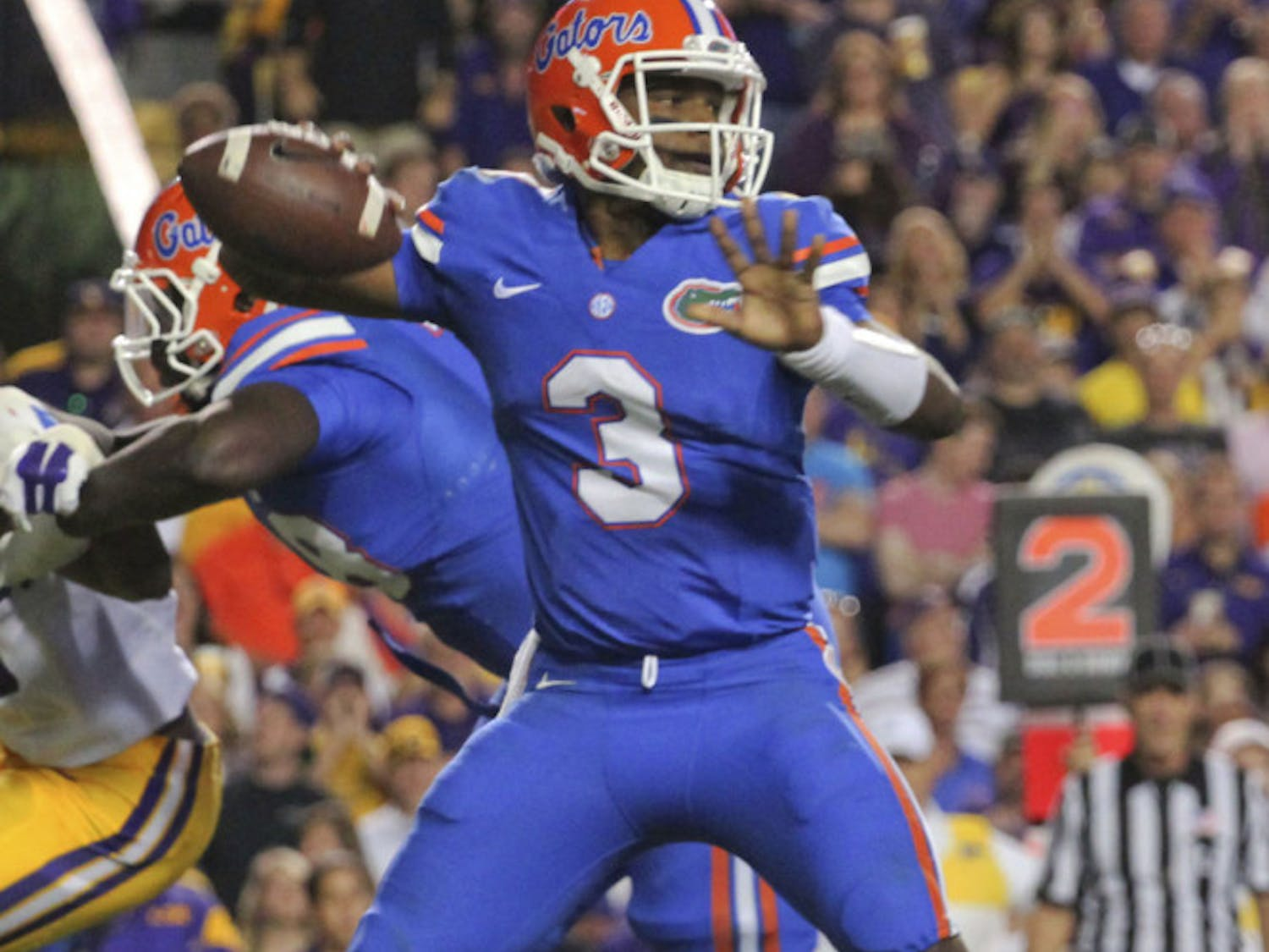 UF quarterback Treon Harris attempts a pass on Oct. 17, 2015, against LSU.