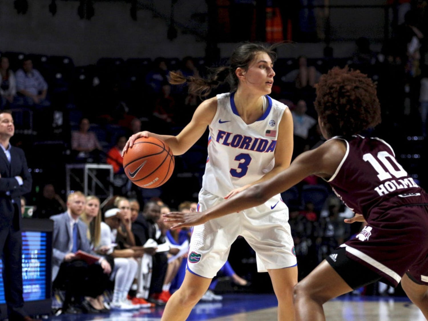 Guard Funda Nakkasoglu led the Gators in scoring with 43 points through the first two games. She's the only UF player shooting over 50.0 percent from the field (57.1).