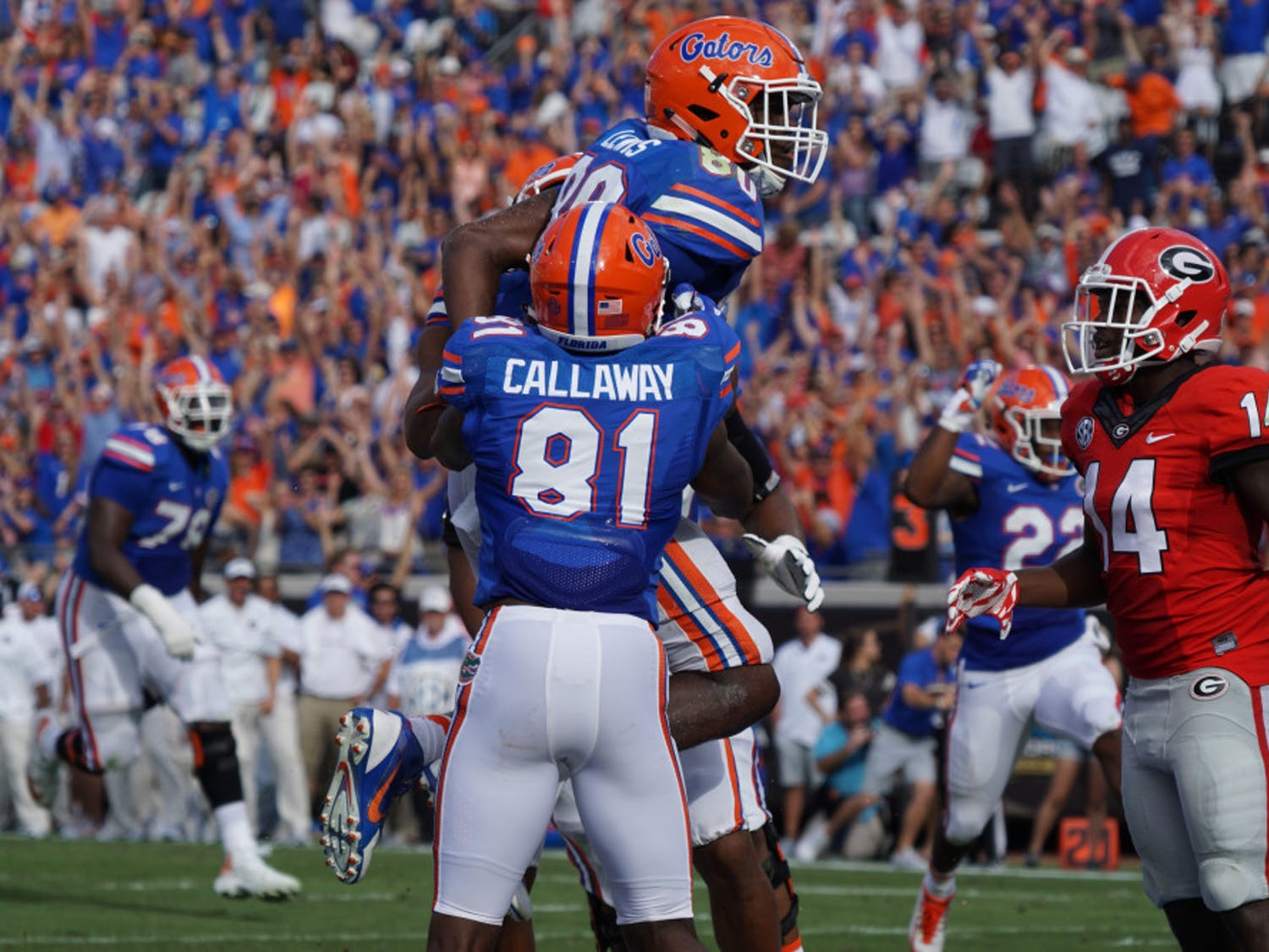 Antonio Callaway celebrates with C'yontai Lewis during UF's 24-10 win over Georgia on Oct. 29 at EverBank Field.