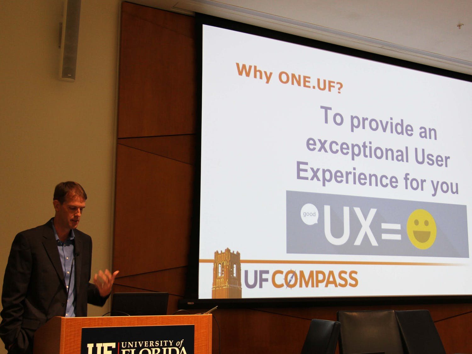 Jacob Prater, a UF Information Technology Application Developer Analyst, giving a presentation on ONE.UF.
