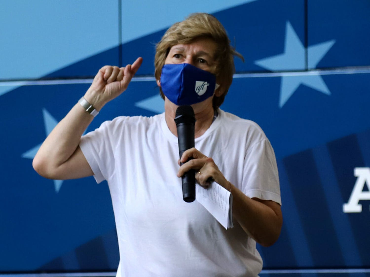 Randi Weingarten, the president of the American Federation of Teachers, speaks about education budgets at an early voting rally hosted by AFT on Thursday, Oct. 29, 2020, at the First United Methodist Church.