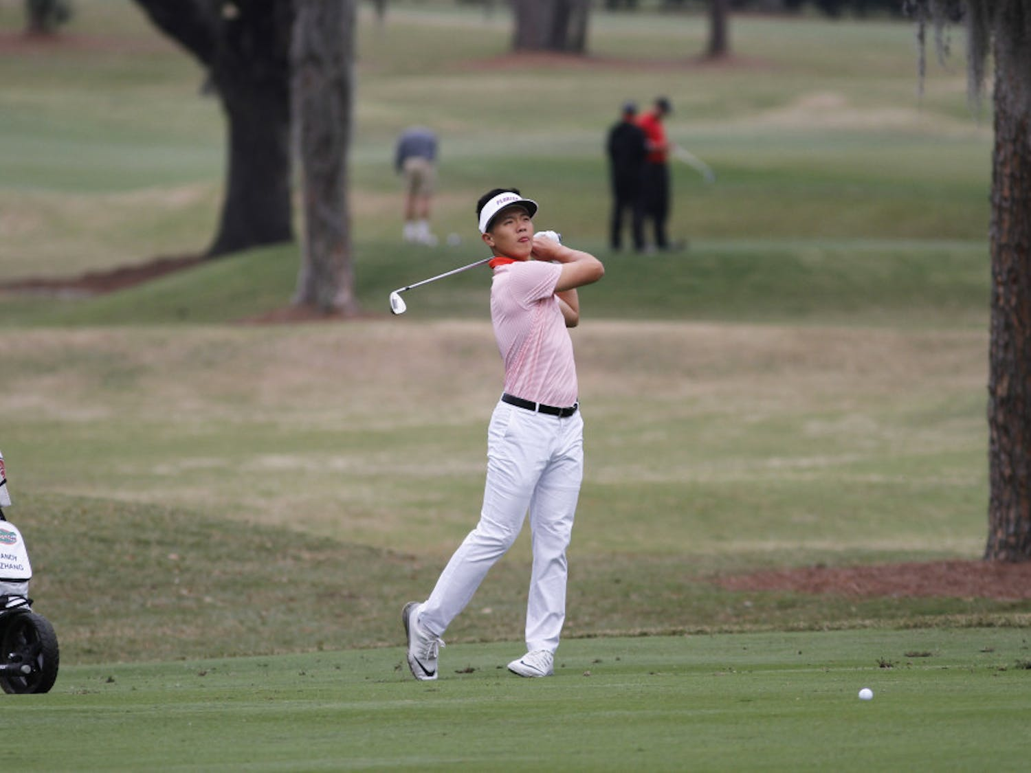 Sophomore Andy Zhang is tied for first heading into the final day of the NCAA Kissimmee Regional. He's at 8 under with freshman John Axelsen just behind him at 7 under.
