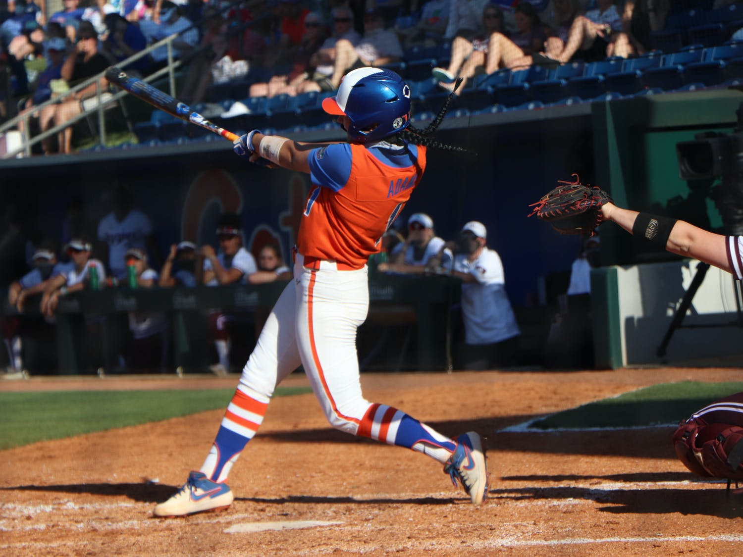 Hannah Adams against Texas A&M on May 8. The Gators fell in the SEC Championship 4-0 to Alabama.