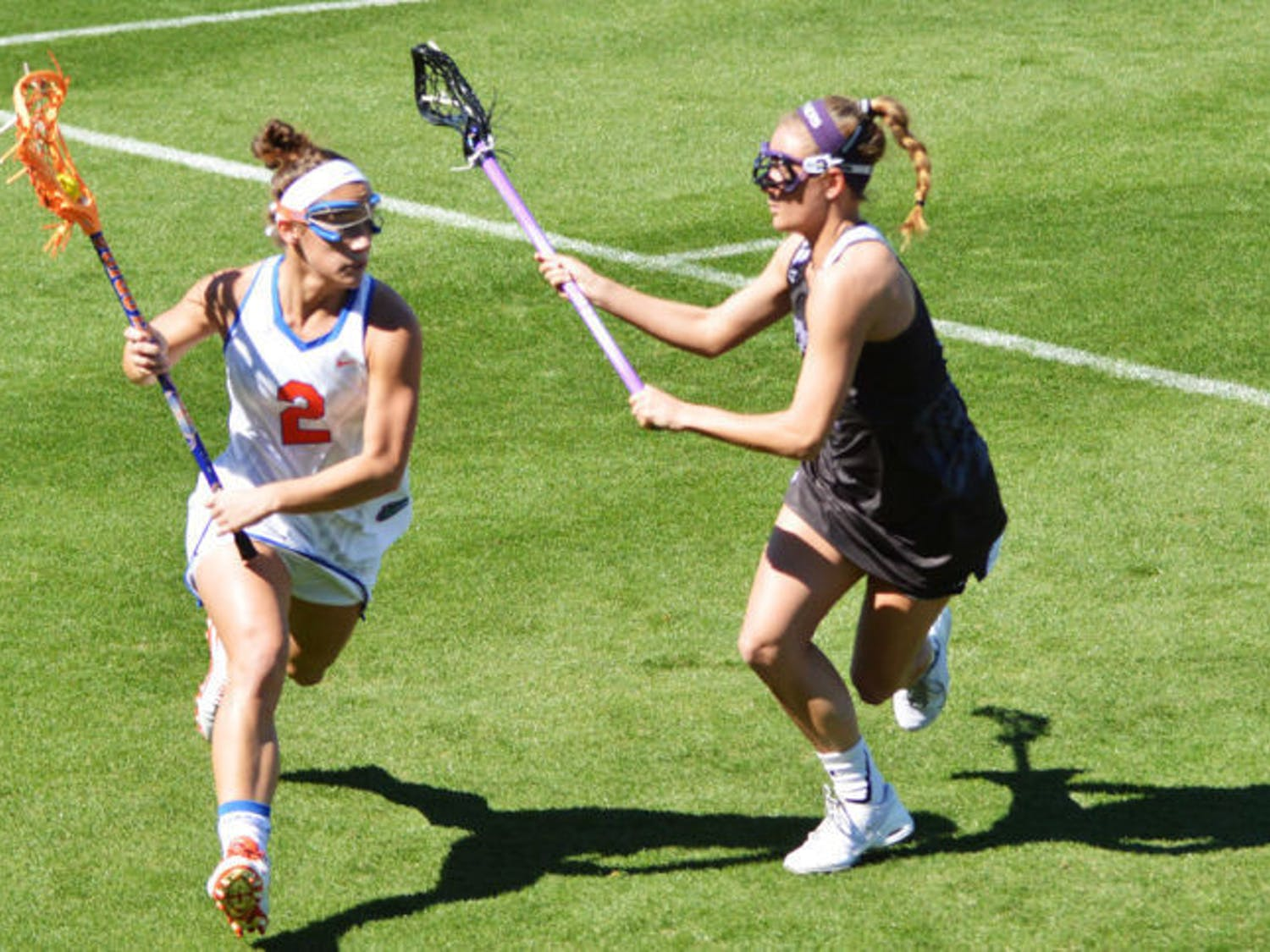 Sammi Burgess drives toward the net during Florida's 18-7 win against High Point on Feb. 15 at Donald R. Dizney Stadium. The freshman attacker finished second on the team with 53 points.
